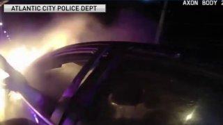 burning car rescue