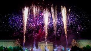 Fireworks exploding over Philadelphia Museum of the Art