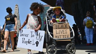 Families participate in a children's march in solidarity with the Black Lives Matter movement and national protests against police brutality on June 9, 2020, in Brooklyn, New York City.