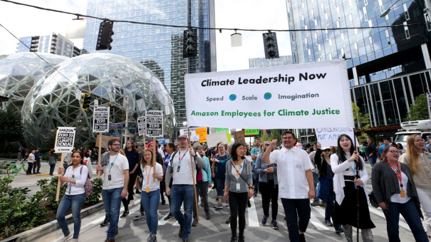 Empleados de Amazon se suman a protesta contra el cambio climático y piden más medidas de la empresa