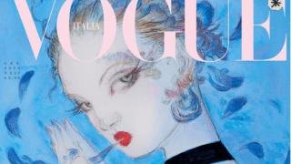 Ilustración de edición de enero 2020 de revista Vogue Italia