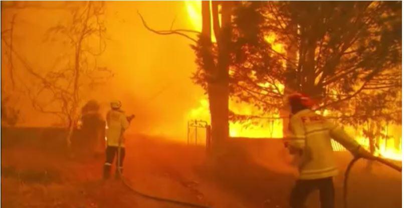 Firefighters battling a wildfire in Australia