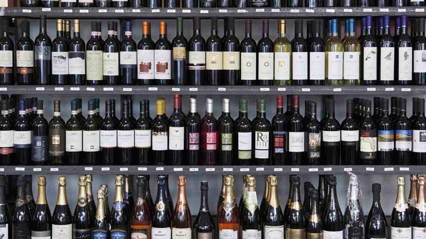 Wine bottles in wine shop