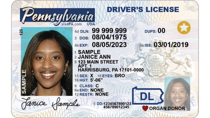 """'X"""" listed as gender on a Pennsylvania driver's license"""