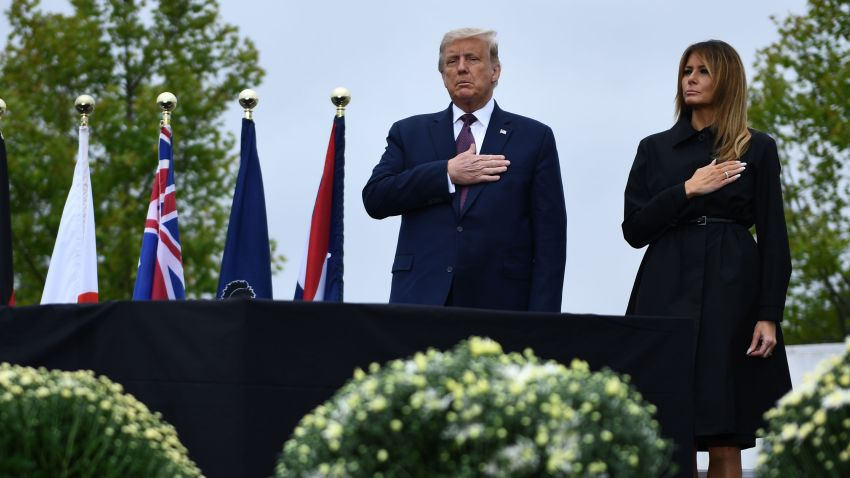 US President Donald Trump and first lady Melania Trump attend a ceremony commemorating the 19th anniversary of the 9/11 attacks, in Shanksville, Pennsylvania, on Step. 11, 2020.