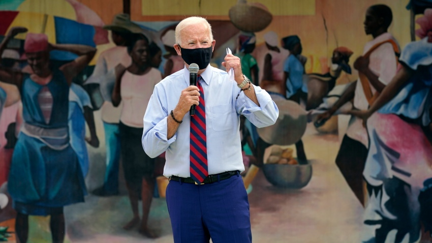 Democratic presidential candidate former Vice President Joe Biden speaks at the Little Haiti Cultural Complex
