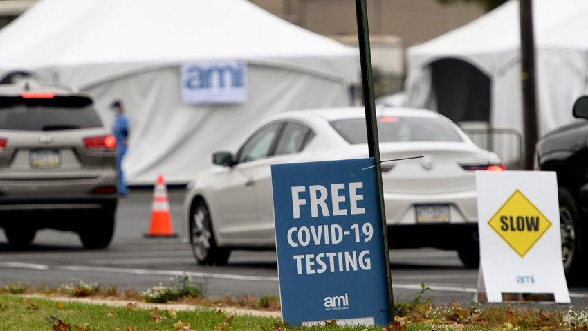 In this Oct. 13, 2020, file photo, a state-run free COVID-19 testing site setup outside of FirstEnergy Stadium in Reading, Pennsylvania.