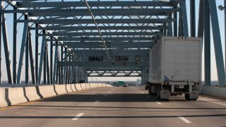 A Truck on the Betsy Ross Bridge.