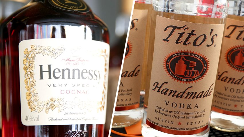 A view of Hennessy cognac and Tito's vodka.