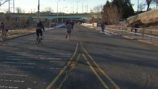 People riding bikes on Philadelphia's MLK Drive