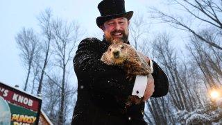 Groundhog Club handler A.J. Dereume holds Punxsutawney Phil
