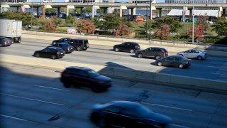 Traffic on the I-95 rolls past Penns Landing, in Philadelphia, PA,