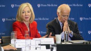 University of Pennsylvania president Amy Gutmann sits alongside U.S. President Joe Biden