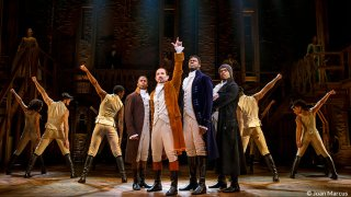 """Performers onstage during """"Hamilton"""" the musical"""