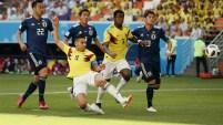 Cobro de tiro libre al corazón del área, Falcao alcanza a tocar el balón pero el portero japonés evita el empate de Colombia.