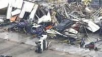Las imágenes aéreas fueron tomadas en Jefferson City, Missouri tras el paso de los tornados el jueves.