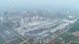 Desde el aire: así quedó una planta de gas de China tras explosión