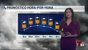 La probablildad de tormentas eléctricas en la zona esta alta para el fin de semana. temperaturas estan bajando un poco, pero los dias se mantendran templados.
