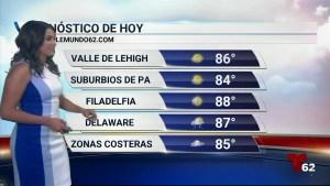 El calor se apodera de nuestra región el resto de la semana. Hoy hay la posibilidad de tormentas eléctricas en el sur de nueva jersey y delaware.