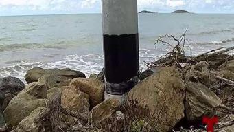 Denuncian la instalación postes de luz a orillas de la playa