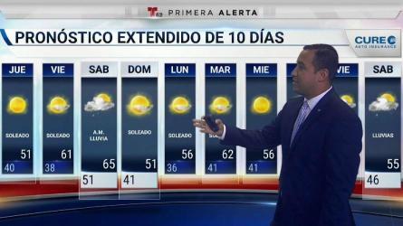<p>La temperatura para el jueves estar&aacute; alrededor de los bajos 50 grados. Tambi&eacute;n, posibles precipitaciones para el resto de la semana.</p>