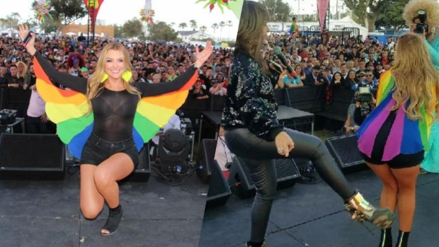 Marjorie de Sousa canta en festival gay y recibe la patadita de la buena suerte