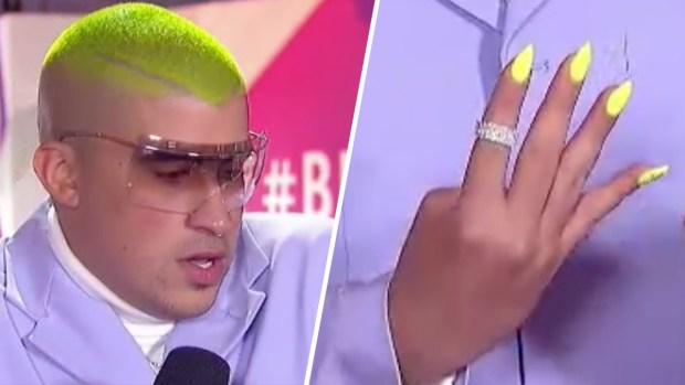 Con pelo verde y uñas largas: el llamativo look de Bad Bunny en Premios Billboard
