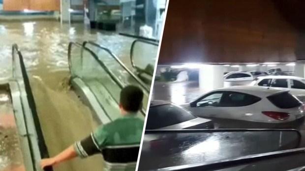 [TLMD - MIA] En video: centro comercial se convierte en un río por lluvias
