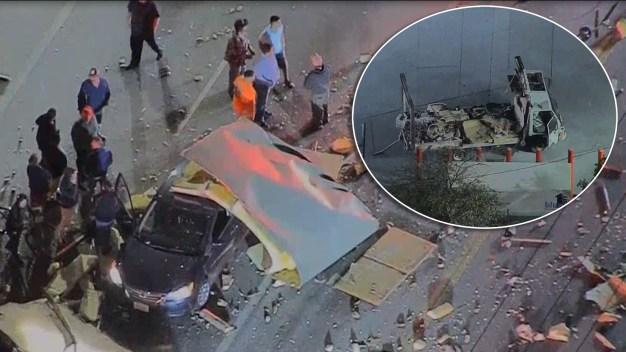 Captado en video: camión explota en mitad de una calle