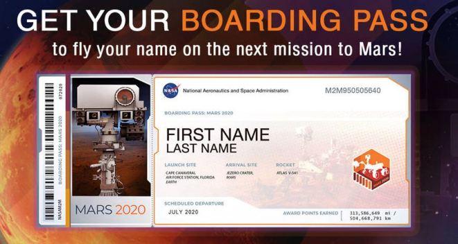 """Furor por misión de NASA que """"envía tu nombre a Marte""""}"""